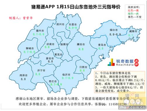 猪易通APP01月15日山东地区外三元价格地图