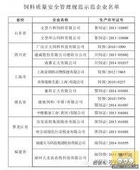 农业部公布首批饲料质量安全示范企业名单