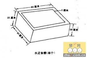 猪舍常用的供料设备:水泥食槽和金属食槽