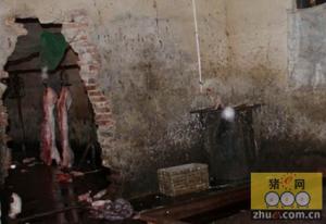 济南小树林藏屠宰黑窝点 猪肉注水每头多赚400元