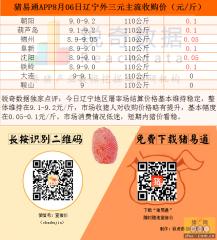 猪易通app8月6日辽宁地区猪价图--稳步回升