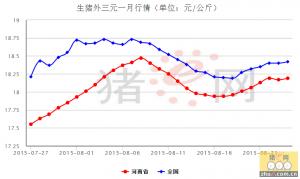 河南近一月猪价走势明朗,近期价格趋稳