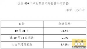 全国480个农村集场仔猪平均价格(10月21日)