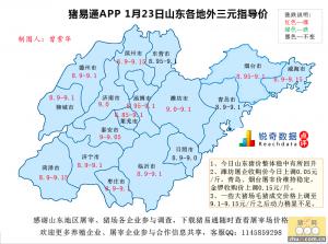 猪易通APP01月23日山东地区外三元价格地图