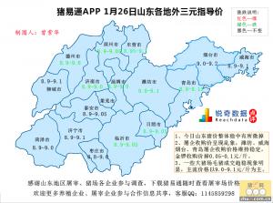 猪易通APP01月26日山东地区外三元价格地图