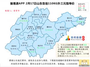 猪易通APP02月17日山东地区外三元价格地图