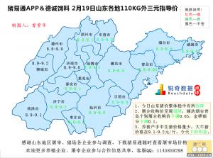 猪易通APP02月19日山东地区外三元价格地图