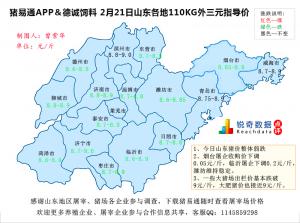 猪易通APP02月21日山东地区外三元价格地图