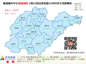 猪易通APP02月22日山东地区外三元价格地图