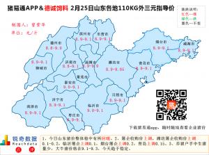 猪易通APP2月25日山东地区外三元价格地图