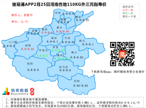 猪易通APP2月25日河南地区外三元价格地图