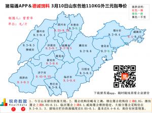 猪易通APP3月10日山东外三元价格地图