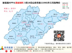 猪易通APP3月18日山东外三元价格地图