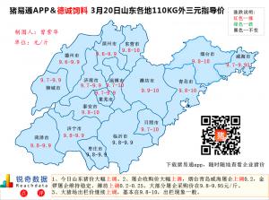 猪易通APP3月20日山东外三元价格地图--今日暴涨不少地区破10