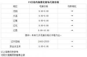 【文捷集团】3月23日辽宁省内猪评:未来几天毛猪价格以平稳为主