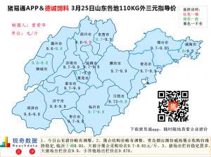 猪易通APP3月25日山东外三元价格地图