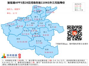 猪易通APP3月28日河南地区外三元价格地图--继续上调