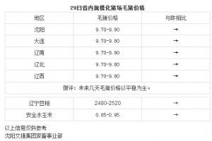 【文捷集团】3月29日辽宁省内猪评:未来几天毛猪价格以平稳为主