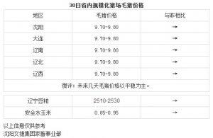 【文捷集团】3月30日辽宁省内猪评:未来几天毛猪价格以平稳为主