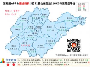 猪易通APP3月31日山东外三元价格地图