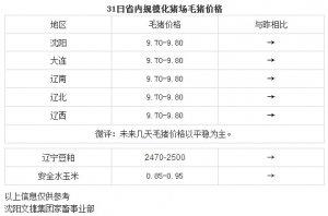 【文捷集团】3月31日辽宁省内猪评:未来几天毛猪价格以平稳为主