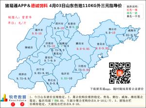 猪易通APP4月03日山东外三元价格地图