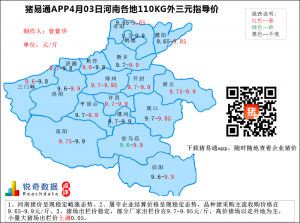 猪易通APP4月03日河南地区外三元价格地图
