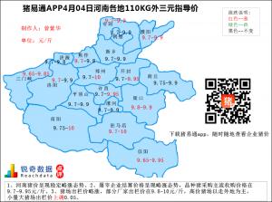 猪易通APP4月04日河南地区外三元价格地图