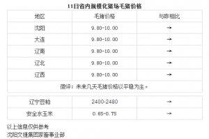 【文捷集团】4月11日辽宁省内猪评:未来几天毛猪价格以平稳为主