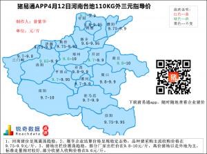 猪易通APP4月12日河南外三元价格地图