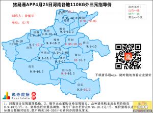 猪易通APP4月25日河南外三元价格地图