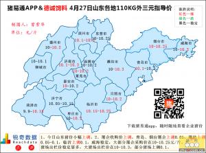 猪易通APP4月27日山东外三元价格地图