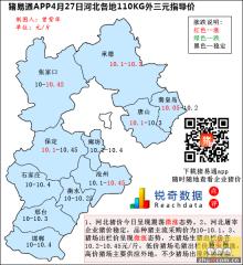 猪易通APP4月27日河北外三元价格地图--不少猪场停售