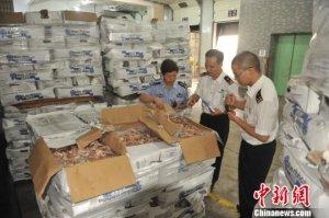 237吨走私冻肉在广东被集中无害化销毁