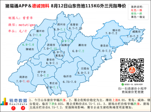 猪易通app8月12日山东生猪价格走势-窄幅跌涨