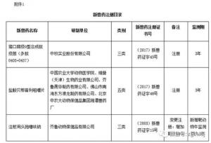 农业部批准猪口蹄疫O型合成肽疫苗(多肽0405+0457)等两种兽药产品为新兽药