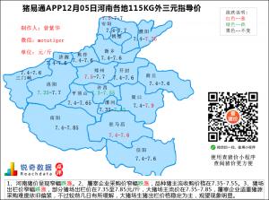 猪易通app12月05日河南猪价走势-窄幅跌涨