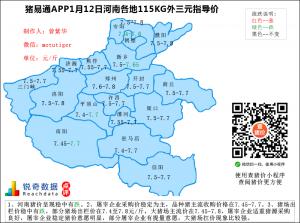 猪易通app1月12日河南猪价走势-逐步趋稳