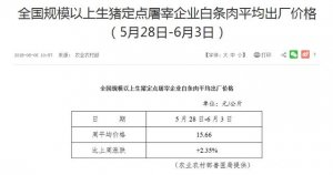 农业农村部:5月28日-6月3日,全国白条肉平均出厂价格上涨!