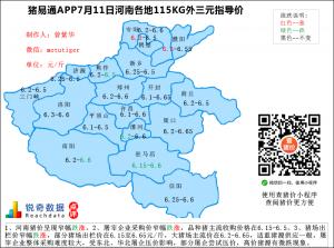 猪易通app07月11日河南猪价走势-窄幅跌涨