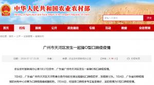 广州市天河区发生一起猪O型口蹄疫疫情