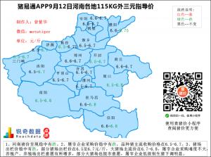 猪易通app09月12日河南猪价走势-稳中有跌
