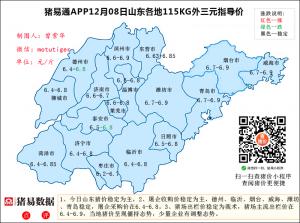猪易通app12月8日山东猪价走势-稳定为主