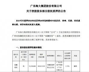 海大集团控股股东海灏投资质押1555万股