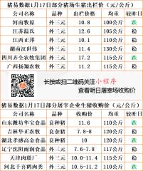 猪易通app19年1月17日部分企业猪价动态