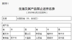 最新!生猪及其产品禁止进京名录(更新1-22)