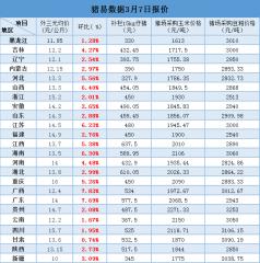 3月7日最新生猪、仔猪、玉米、豆粕价格