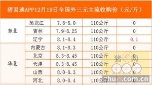 猪易通app12月19日各地外三元价格一览图
