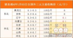 猪易通app01月03日各地外三元价格一览图