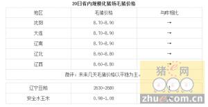 1月20日辽宁省猪评:未来几天毛猪价格以平稳为主